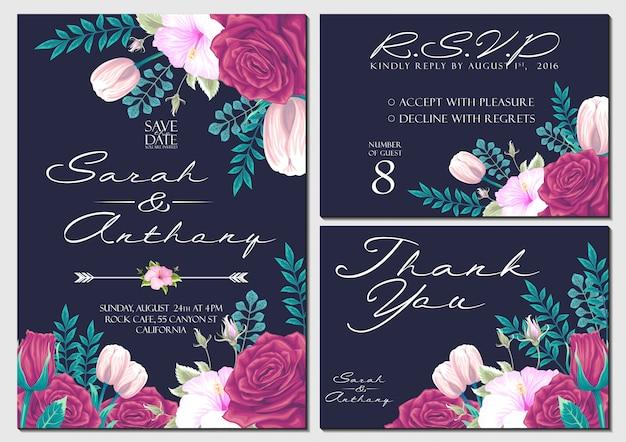 Vector set cartão de convite de casamento com modelo de plano de fundo de flores