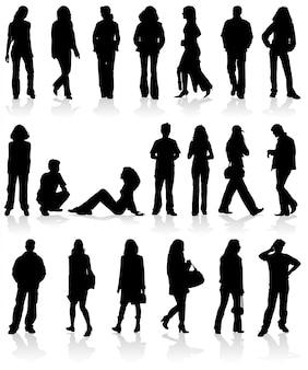 Vector silhouettes homem e mulher