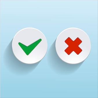 Vector sim e sem marcas de seleção em círculos