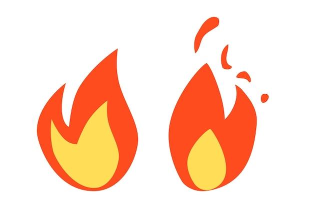 Vector simples fogo ou sinal inflamável, isolado no branco