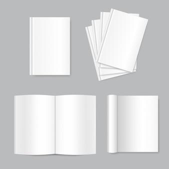 Vector simulado acima de livros em branco brancos.
