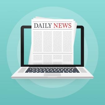 Vector simulado acima de um jornal diário em branco.