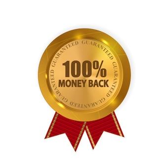 Vector sinal de ouro de garantia de devolução do dinheiro, etiqueta