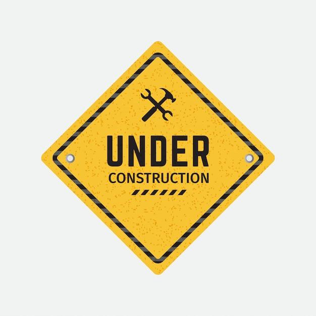 Vector sob sinal de estrada de construção