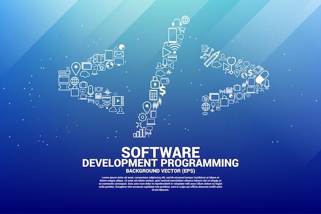 Vector software programação tag com ícone funcional.