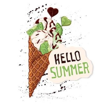 Vector sorvete em cones de waffle decorados com frutas, chocolate ou nozes.