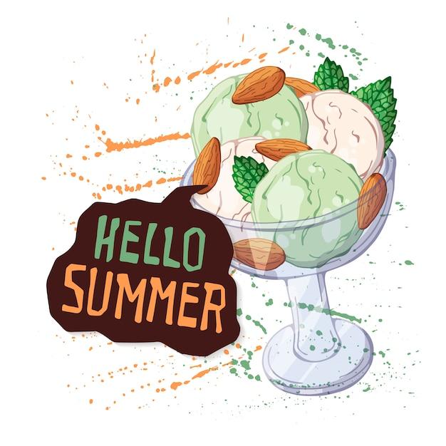 Vector sorvete na tigela decorada com frutas, chocolate ou nozes.