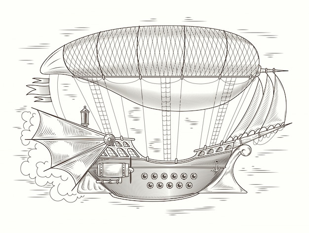 Vector steampunk ilustração de um fantástico flyinprint de madeira, modelo, elemento de design