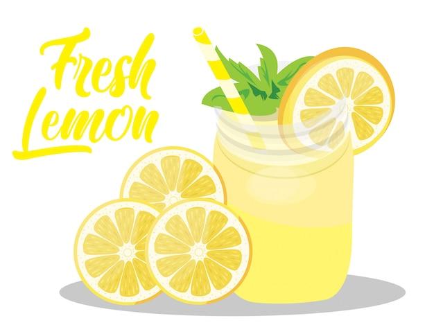 Vector suco de limão fresco isolado no branco
