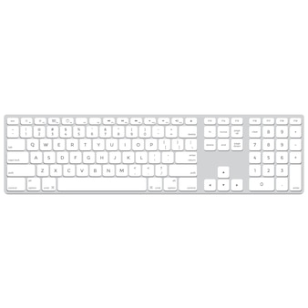 Vector teclado de computador de alumínio de design liso longo cores sólidas