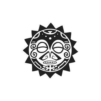 Vector tinta monocromática preta desenhada à mão arte popular polinésia nativa símbolo do sol círculo mitológico ilustração do rosto de tiki isolado fundo branco