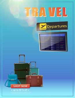 Vector travel banner panfleto da hora de viajar com a tabela de voos de aventuras