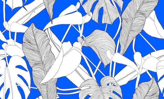 Vector tropical seamless pattern plantas exóticas