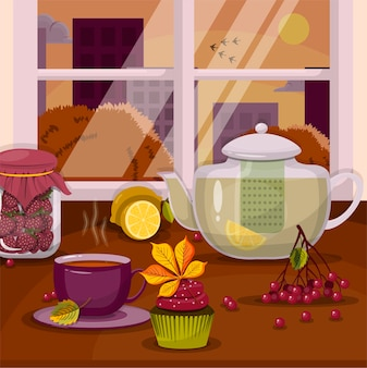 Vector um bule de chá, uma xícara e um bolinho no parapeito da janela com uma paisagem de outono, dia de ação de graças