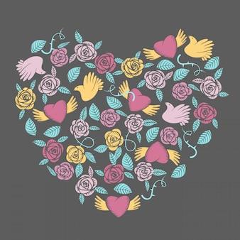 Vector valentine em forma de coração elementos