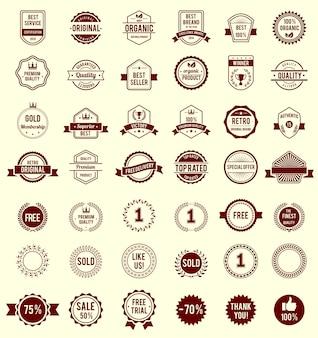 Vector variety design marrom retro vintage emblemas isolados