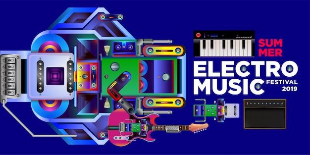 Vector verão electro music festival banner modelo de design