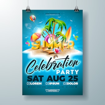 Vector verão festa flyer ou cartaz design na ilha tropical