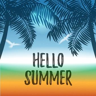 Vector verão fundo com oceano e palmeiras