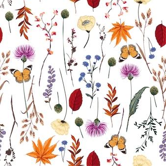 Vector verão muitos tipos de flores silvestres sem costura padrão