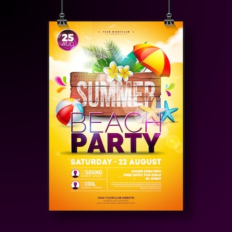 Vector verão praia festa flyer design com flor, folhas de palmeira, bola de praia e estrela do mar sobre fundo amarelo. ilustração de férias de verão com placa de madeira vintage
