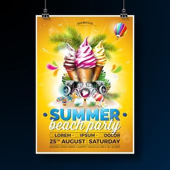 Vector verão praia festa Flyer Design