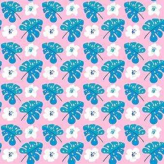Vector verão sem costura padrão com flores planas e folhas tropicais.