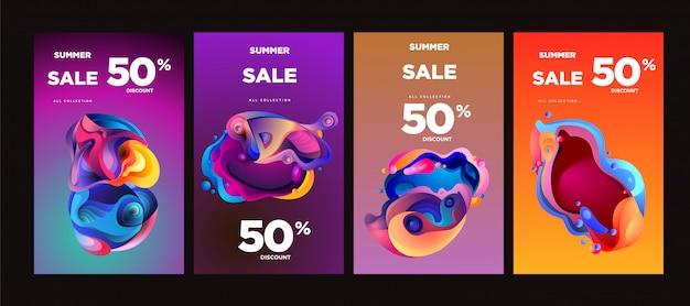 Vector verão venda 50% desconto fluido colorido banner