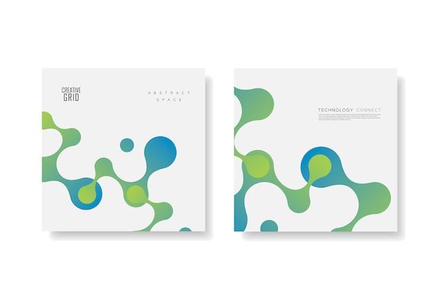Vector verde-azul malhos conectados em design branco para cartões