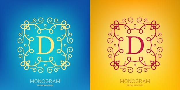 Vector vindima monograma logotipo definido.