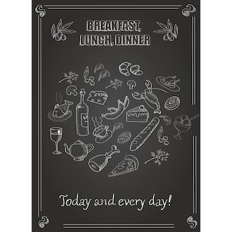 Vector vintage café da manhã, almoço e jantar poster com comida