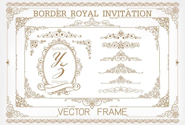Vector vintage dourado definir elementos florais