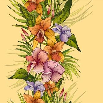 Vector vintage floral tropical sem costura padrão