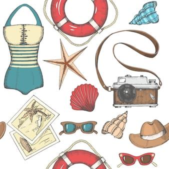 Vector vintage fundo sem emenda com objetos de verão mão desenhada