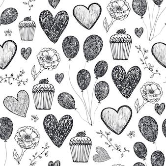 Vector vintage sem costura aniversário, fundo de festa, padrão. balões, bolos, corações. dia dos namorados, amor, romântico estilo de doodle desenhado à mão em preto e branco