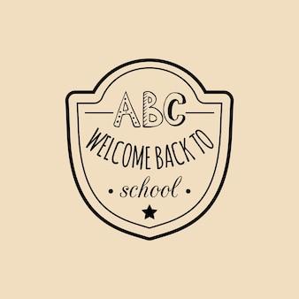 Vector vintage volta ao distintivo da escola. sinal de educação de crianças retrô com personagens do abc. conceito de design do dia do conhecimento.
