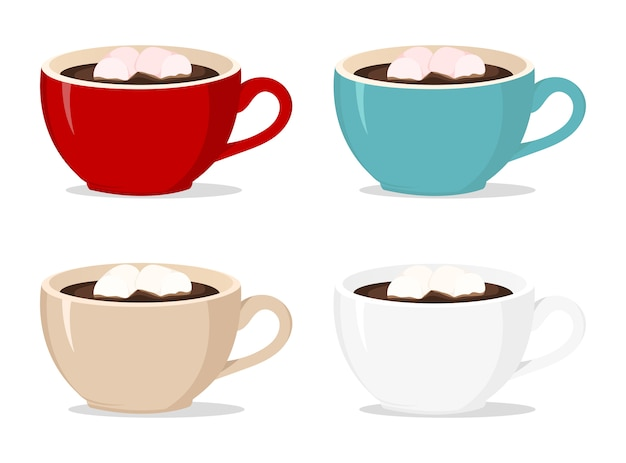 Vector xícaras de café com marshmallows em branco