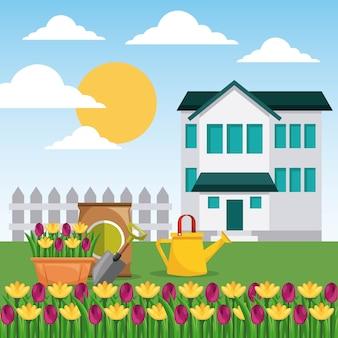 Vedação ao jardim da casa flores em vaso lata de rega e adubo de saco
