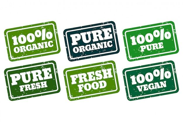 Vegan orgânico e coleção de carimbos de borracha pura