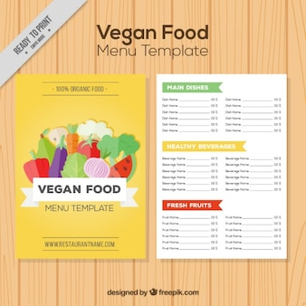 Veganos menu amarelo com legumes e frutas