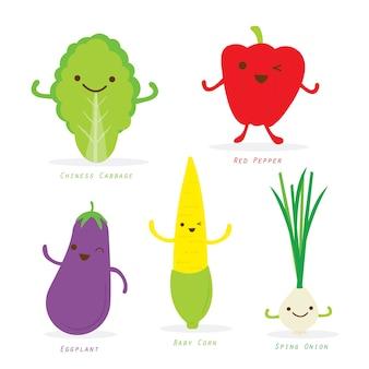 Vegetable cartoon cute set caráter vector