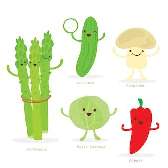 Vegetable cartoon cute set vector