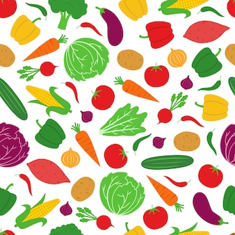 Vegetable seamless pattern background vector design