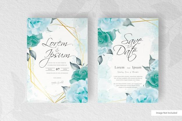 Vegetação aguarela e arranjo floral modelo de cartão de convite de casamento