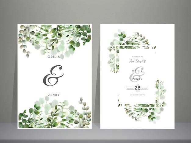 Vegetação desenhada à mão eucalipto com folhas modelo de convite de casamento