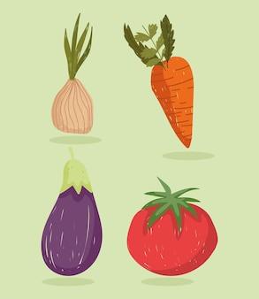 Vegetais alimentos frescos cenoura orgânica cebola berinjela e ilustração conjunto de ícones de tomate
