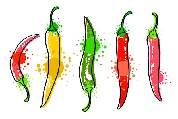 Vegetais coloridos em aquarela definir pimenta vermelha, close-up isolado no fundo branco. pintado à mão em papel