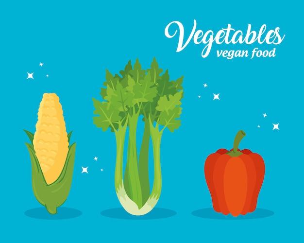 Vegetais, conceito alimento saudável ilustração vetorial design