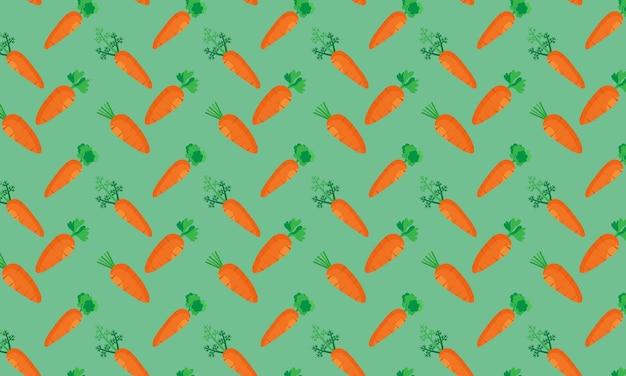 Vegetais de cenoura frescos em padrão sem emenda sobre fundo verde. o padrão pode ser usado para sites.