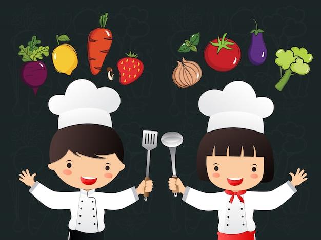 Vegetais de mão desenhada pequenos chefs